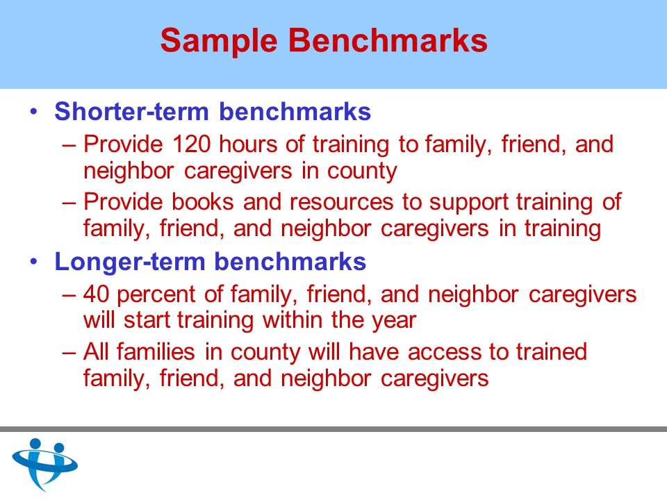 Sample Benchmarks Shorter-term benchmarks –Provide 120 hours of training to family, friend, and neighbor caregivers in county –Provide books and resources to support training of family, friend, and neighbor caregivers in training Longer-term benchmarks –40 percent of family, friend, and neighbor caregivers will start training within the year –All families in county will have access to trained family, friend, and neighbor caregivers