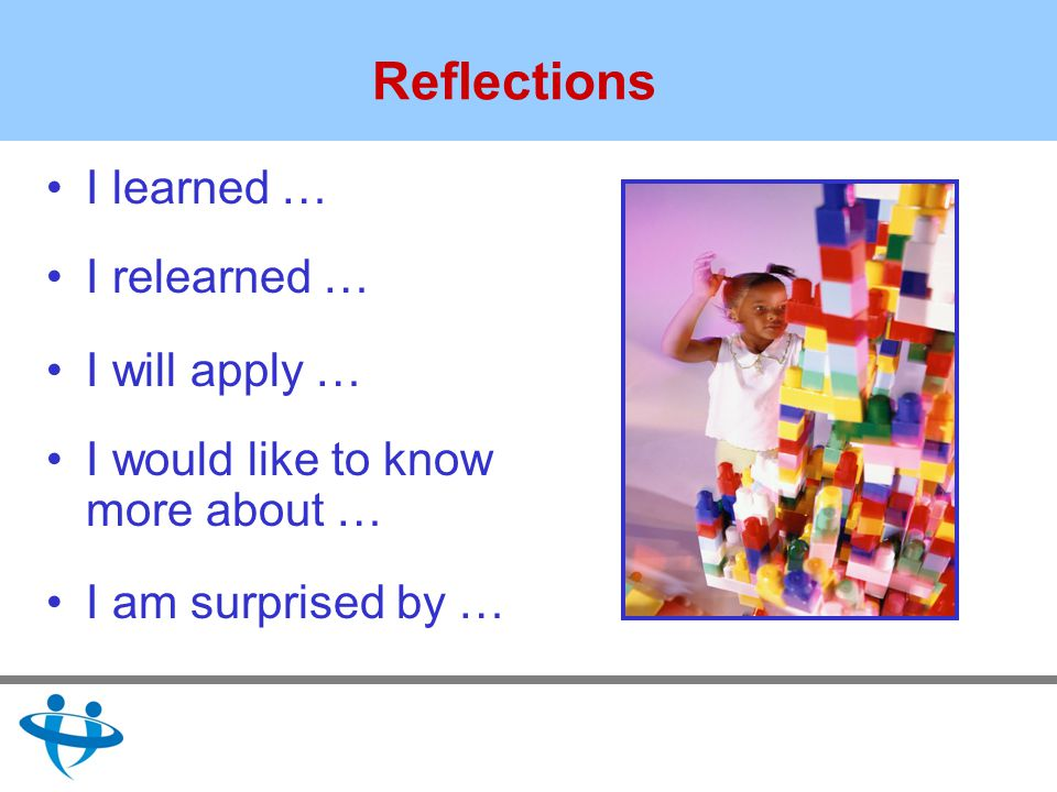 Reflections I learned … I relearned … I will apply … I would like to know more about … I am surprised by …