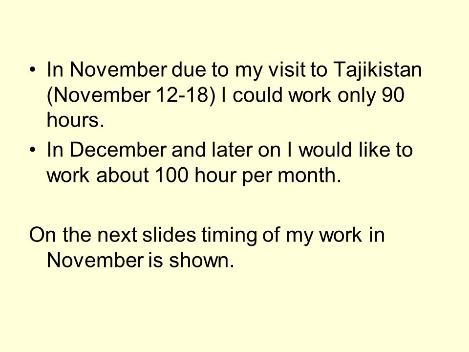 In November due to my visit to Tajikistan (November 12-18) I could work only 90 hours.