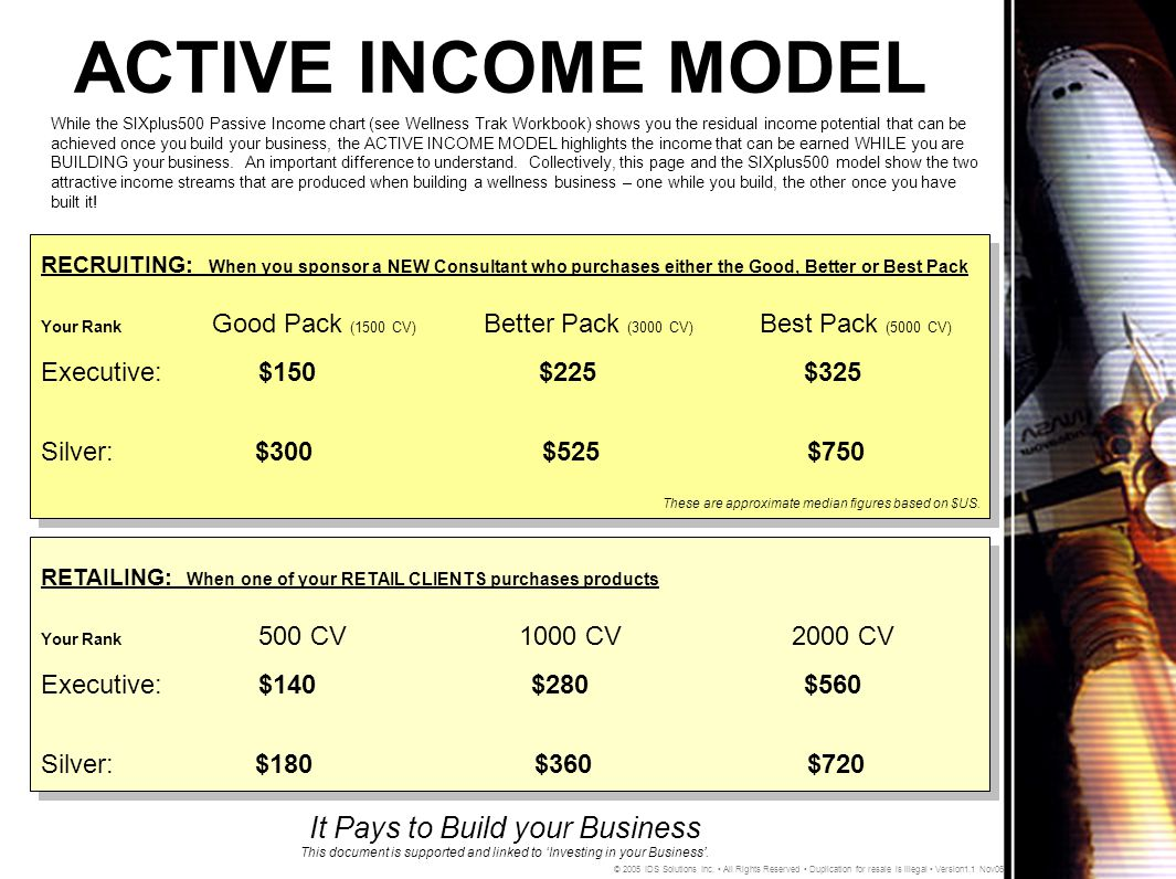 ACTIVE INCOME MODEL It Pays to Build your Business This document is supported and linked to 'Investing in your Business'.