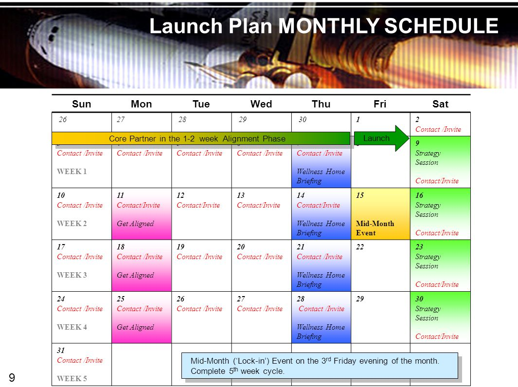 Wellness Trak Launch Plan MONTHLY SCHEDULE SunMonTueWedThuFriSat 2627 28 29 301 2 Contact /Invite 3 Contact /Invite WEEK 1 4 Contact /Invite 5 Contact /Invite 6 Contact /Invite 7 Contact /Invite Wellness Home Briefing 89 Strategy Session Contact/Invite 10 Contact /Invite WEEK 2 11 Contact/Invite Get Aligned 12 Contact/Invite 13 Contact/Invite 14 Contact/Invite Wellness Home Briefing 15 Mid-Month Event 16 Strategy Session Contact/Invite 17 Contact /Invite WEEK 3 18 Contact /Invite Get Aligned 19 Contact /Invite 20 Contact /Invite 21 Contact /Invite Wellness Home Briefing 2223 Strategy Session Contact/Invite 24 Contact /Invite WEEK 4 25 Contact /Invite Get Aligned 26 Contact /Invite 27 Contact /Invite 28 Contact /Invite Wellness Home Briefing 2930 Strategy Session Contact/Invite 31 Contact /Invite WEEK 5 Mid-Month ('Lock-in') Event on the 3 rd Friday evening of the month.