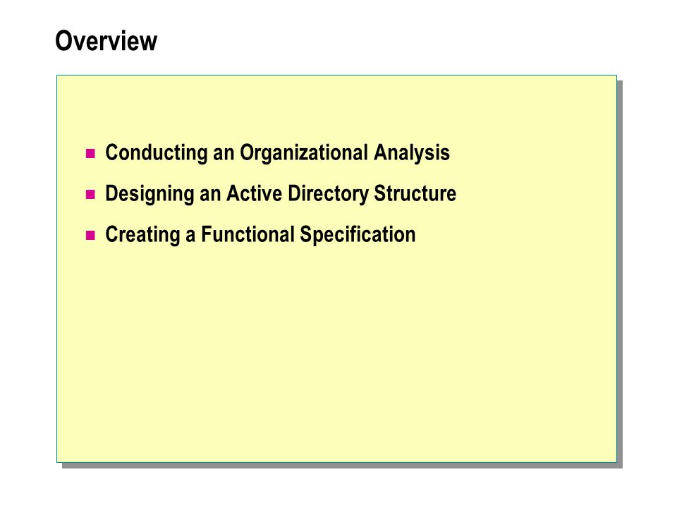 Overview Conducting an Organizational Analysis Designing an Active Directory Structure Creating a Functional Specification