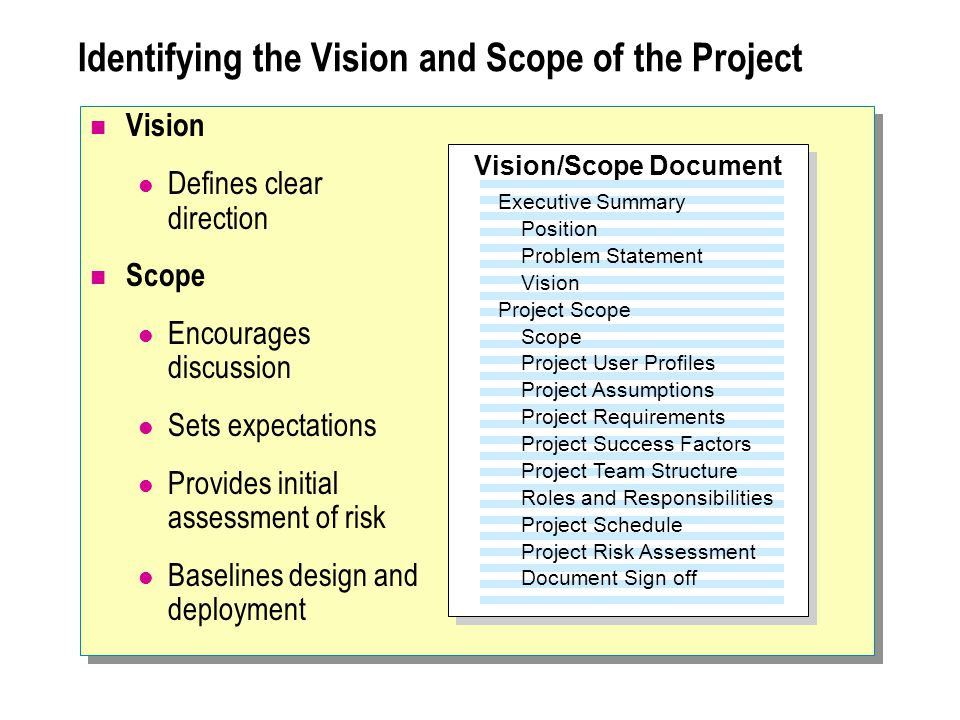 Identifying the Vision and Scope of the Project Vision Defines clear direction Scope Encourages discussion Sets expectations Provides initial assessment of risk Baselines design and deployment Executive Summary Position Problem Statement Vision Project Scope Scope Project User Profiles Project Assumptions Project Requirements Project Success Factors Project Team Structure Roles and Responsibilities Project Schedule Project Risk Assessment Document Sign off Vision/Scope Document