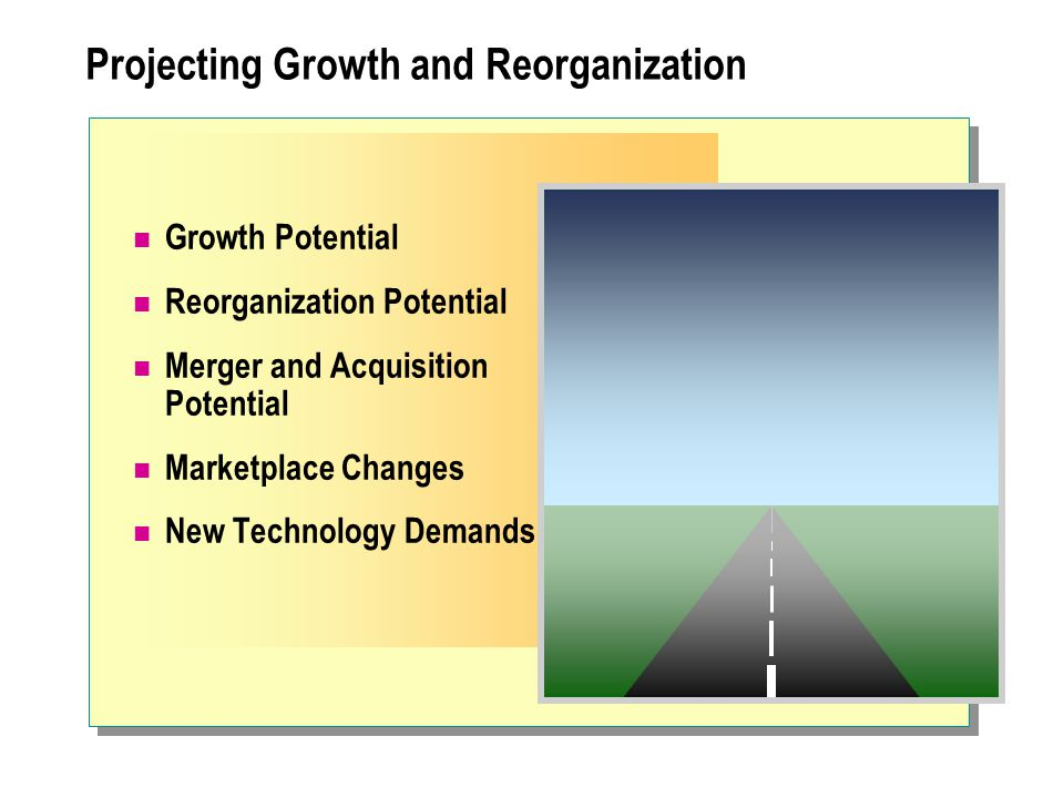 Projecting Growth and Reorganization Growth Potential Reorganization Potential Merger and Acquisition Potential Marketplace Changes New Technology Dem
