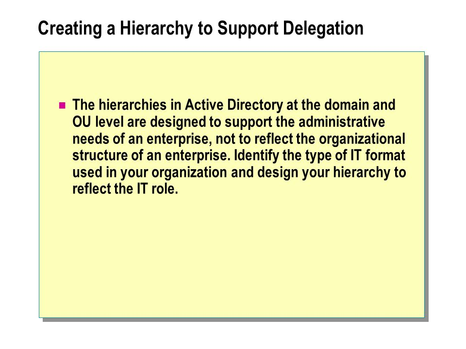 Creating a Hierarchy to Support Delegation The hierarchies in Active Directory at the domain and OU level are designed to support the administrative needs of an enterprise, not to reflect the organizational structure of an enterprise.