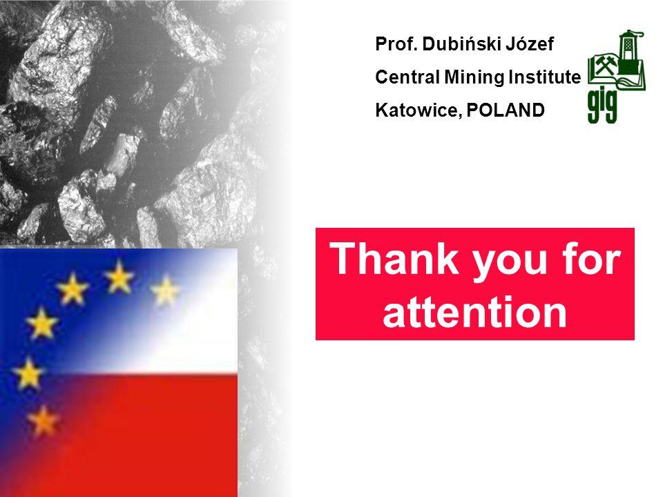 Prof. Dubiński Józef Central Mining Institute Katowice, POLAND Thank you for attention