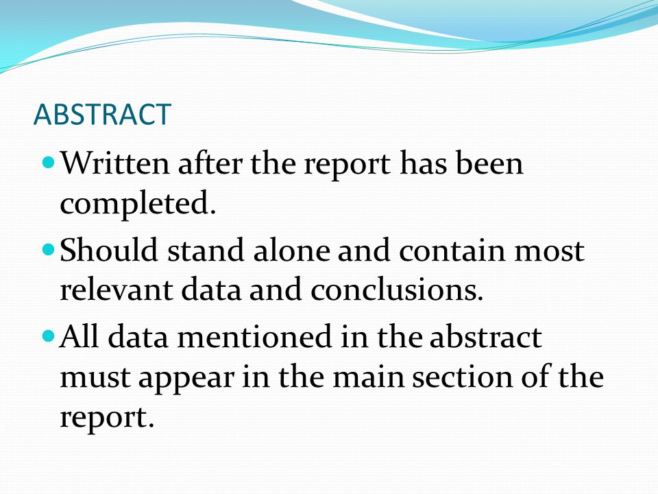 Discussion Most important part of the report and should cover: Summary of major findings Likely accuracy of the results conclusions with justification for those conclusion and rejection of alternative explanations relationship of these results to the literature and other results implications of the findings asessment of control measures Need for future research.