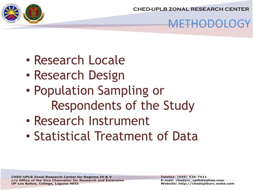 4/30/201519 METHODOLOGY Research Locale Research Design Population Sampling or Respondents of the Study Research Instrument Statistical Treatment of Data