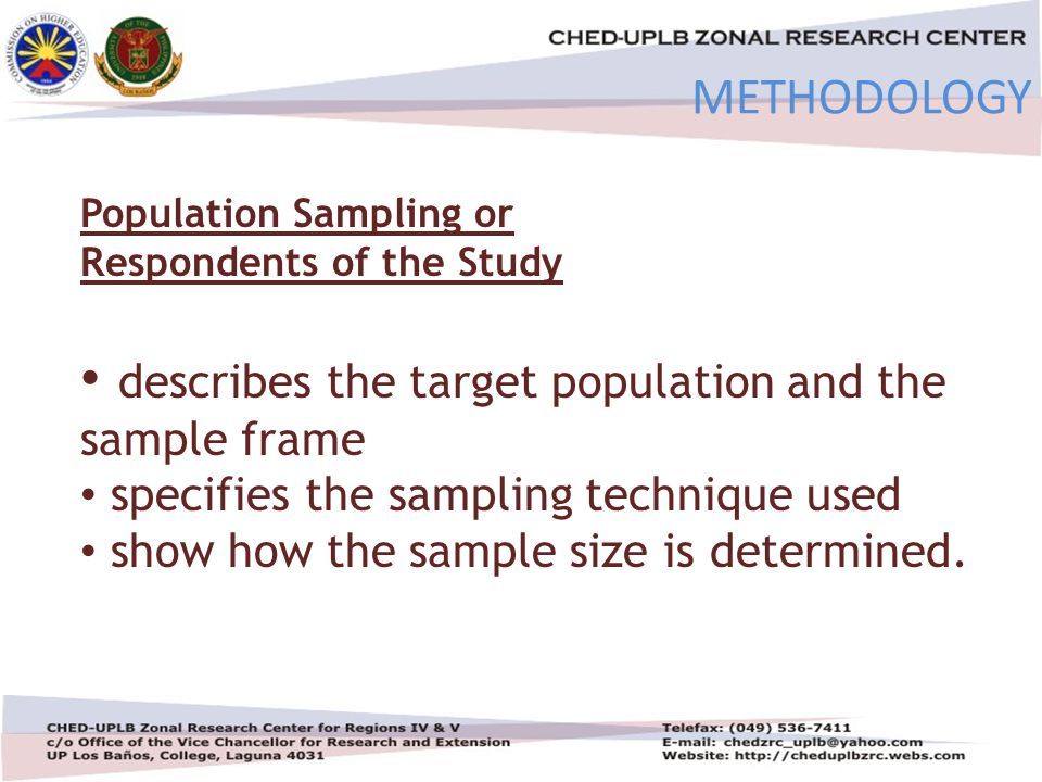 4/30/201522 METHODOLOGY Population Sampling or Respondents of the Study describes the target population and the sample frame specifies the sampling technique used show how the sample size is determined.