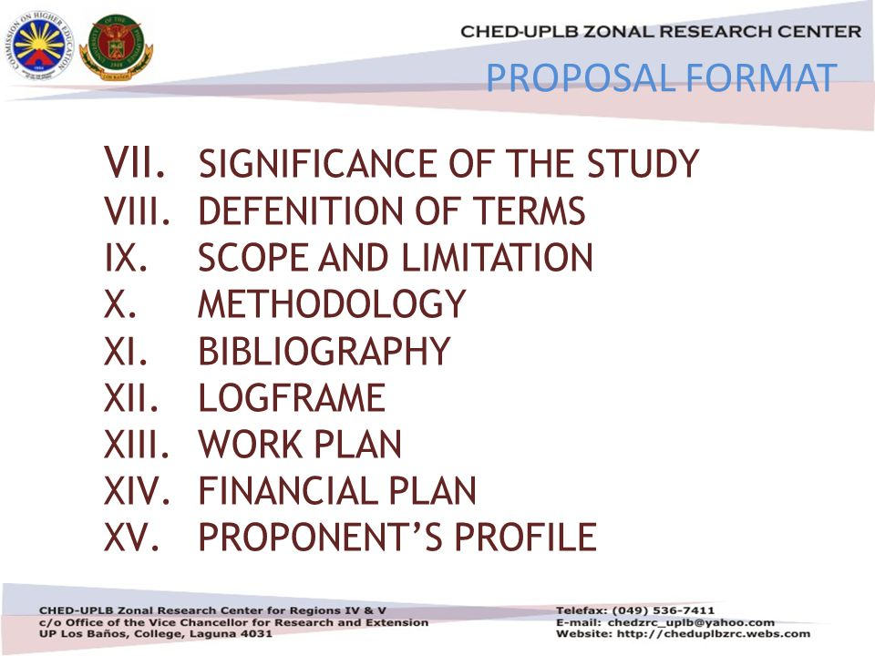 4/30/20154 VII. SIGNIFICANCE OF THE STUDY VIII. DEFENITION OF TERMS IX.