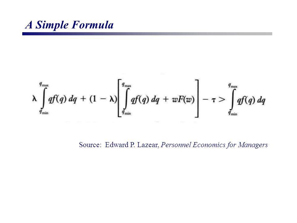 A Simple Formula Source: Edward P. Lazear, Personnel Economics for Managers