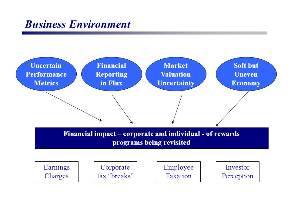 Business Environment Financial impact – corporate and individual - of rewards programs being revisited Earnings Charges Employee Taxation Investor Perception Corporate tax breaks Uncertain Performance Metrics Market Valuation Uncertainty Financial Reporting in Flux Soft but Uneven Economy