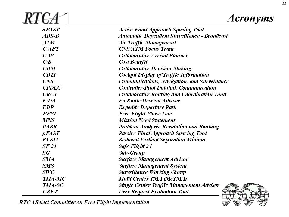 RTCA Select Committee on Free Flight Implementation 33 Acronyms
