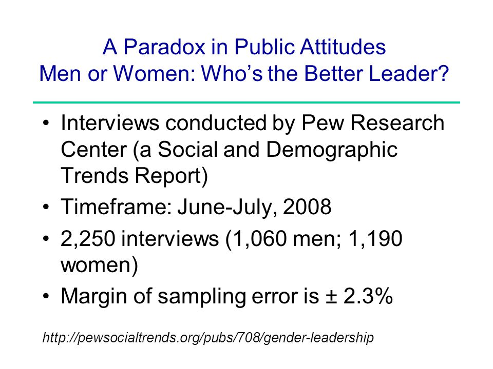 A Paradox in Public Attitudes Men or Women: Who's the Better Leader.
