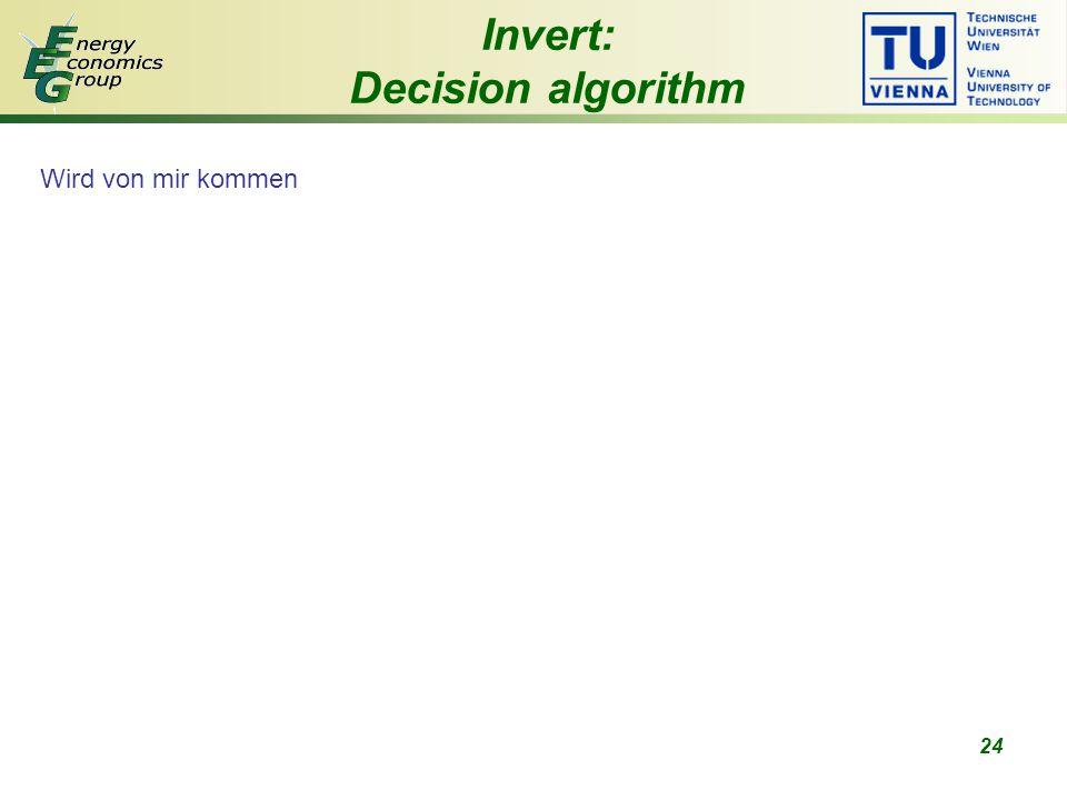24 Wird von mir kommen Invert: Decision algorithm