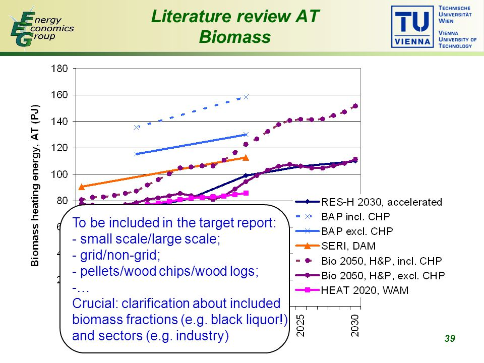 39 Literature review AT Biomass To be included in the target report: - small scale/large scale; - grid/non-grid; - pellets/wood chips/wood logs; -… Crucial: clarification about included biomass fractions (e.g.