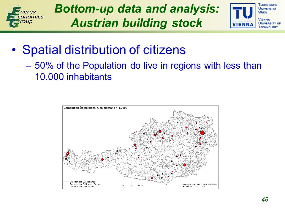 45 Spatial distribution of citizens –50% of the Population do live in regions with less than 10.000 inhabitants Bottom-up data and analysis: Austrian building stock