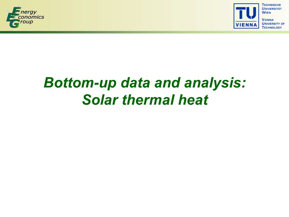 Bottom-up data and analysis: Solar thermal heat