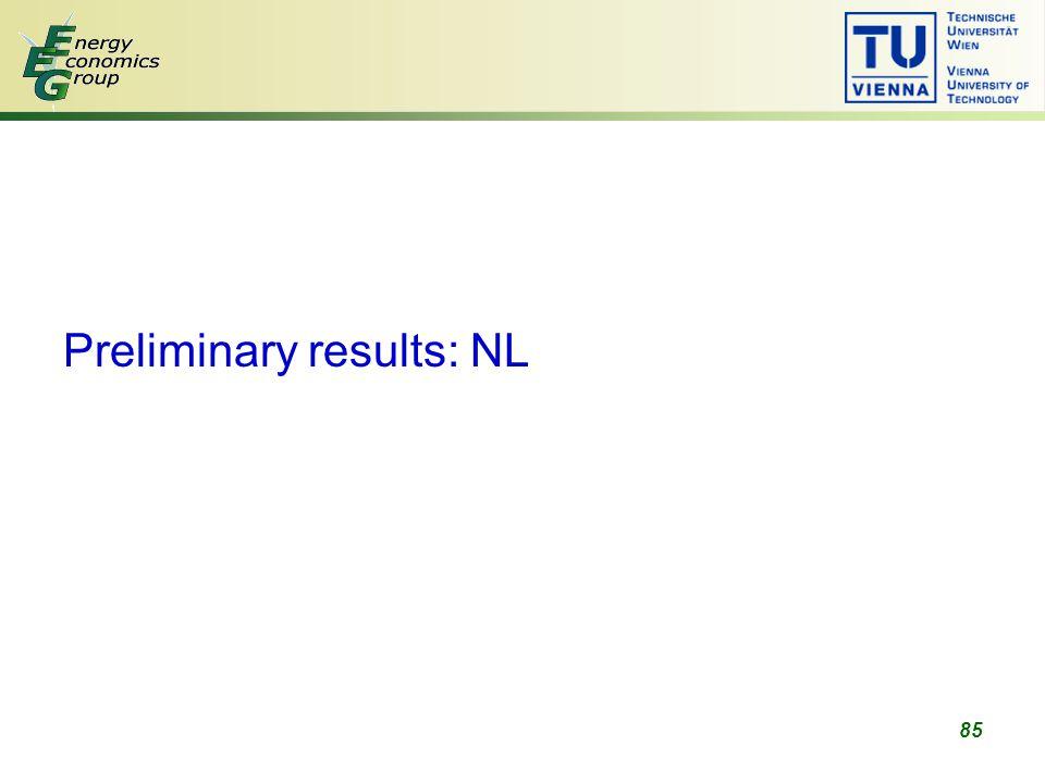 85 Preliminary results: NL