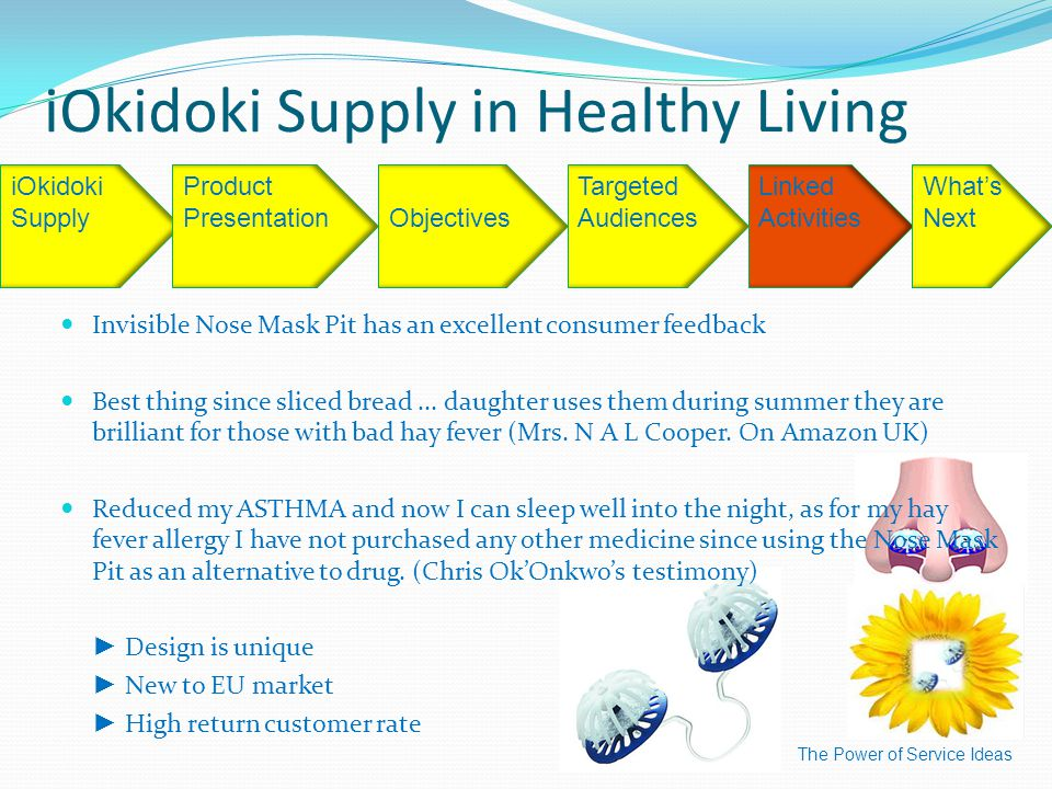 iOkidoki Supply in Healthy Living The Power of Service Ideas iOkidoki SupplyObjectives Targeted Audiences Linked Activities What's Next Product Presentation Invisible Nose Mask Pit has an excellent consumer feedback Best thing since sliced bread...