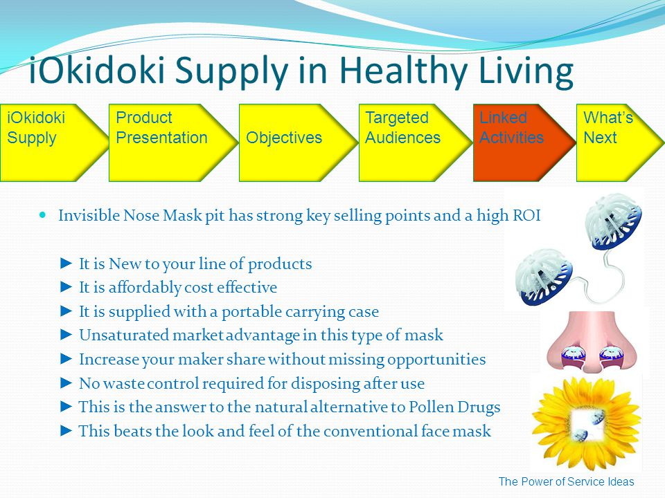 iOkidoki Supply in Healthy Living The Power of Service Ideas iOkidoki SupplyObjectives Targeted Audiences Linked Activities What's Next Product Presentation Invisible Nose Mask pit has strong key selling points and a high ROI ► It is New to your line of products ► It is affordably cost effective ► It is supplied with a portable carrying case ► Unsaturated market advantage in this type of mask ► Increase your maker share without missing opportunities ► No waste control required for disposing after use ► This is the answer to the natural alternative to Pollen Drugs ► This beats the look and feel of the conventional face mask