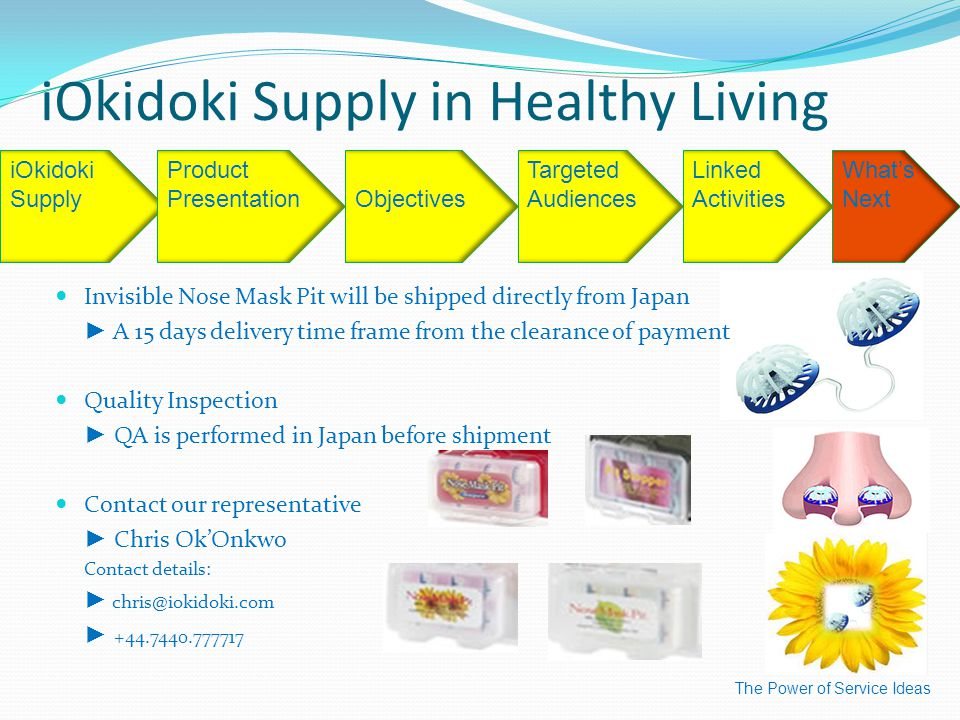 iOkidoki Supply in Healthy Living The Power of Service Ideas iOkidoki SupplyObjectives Targeted Audiences Linked Activities What's Next Product Presentation Invisible Nose Mask Pit will be shipped directly from Japan ► A 15 days delivery time frame from the clearance of payment Quality Inspection ► QA is performed in Japan before shipment Contact our representative ► Chris Ok'Onkwo Contact details: ► chris@iokidoki.com ► +44.7440.777717