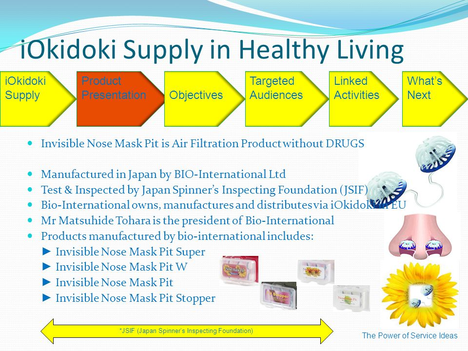 iOkidoki Supply in Healthy Living The Power of Service Ideas iOkidoki Supply Product Presentation Targeted Audiences Linked Activities What's Next *JSIF (Japan Spinner's Inspecting Foundation) Objectives Invisible Nose Mask Pit is Air Filtration Product without DRUGS Manufactured in Japan by BIO-International Ltd Test & Inspected by Japan Spinner's Inspecting Foundation (JSIF) Bio-International owns, manufactures and distributes via iOkidoki in EU Mr Matsuhide Tohara is the president of Bio-International Products manufactured by bio-international includes: ► Invisible Nose Mask Pit Super ► Invisible Nose Mask Pit W ► Invisible Nose Mask Pit ► Invisible Nose Mask Pit Stopper