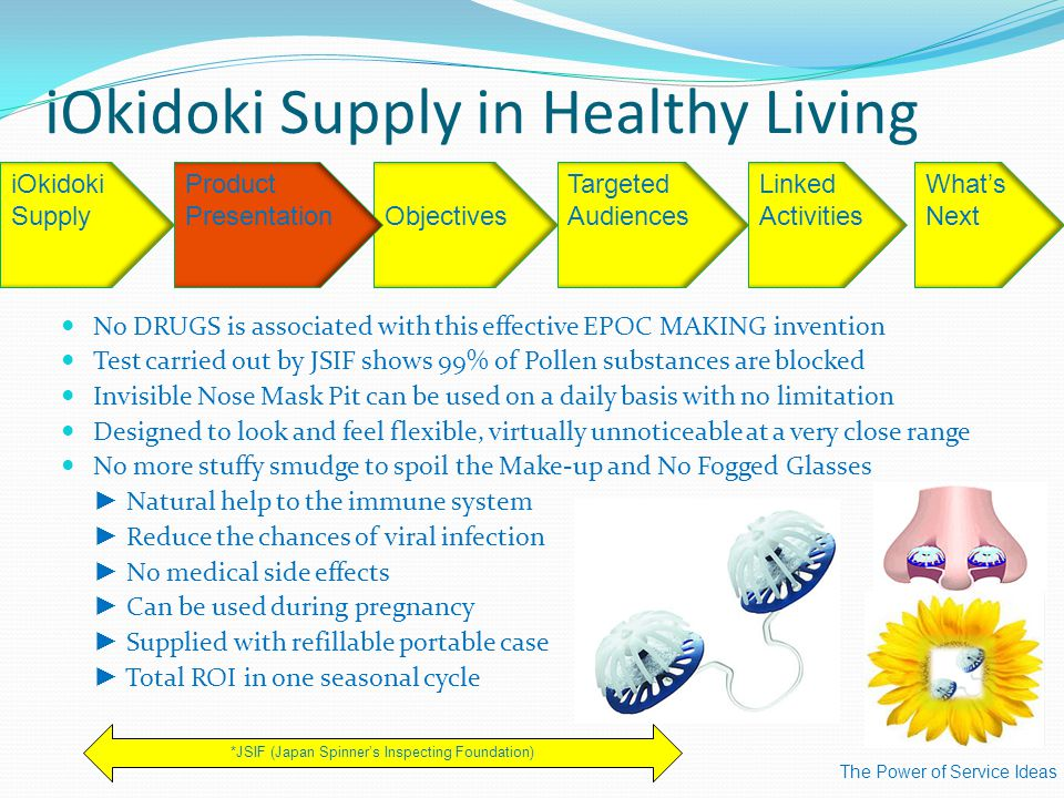 iOkidoki Supply in Healthy Living The Power of Service Ideas iOkidoki Supply Targeted Audiences Linked Activities What's Next *JSIF (Japan Spinner's Inspecting Foundation) Objectives Product Presentation No DRUGS is associated with this effective EPOC MAKING invention Test carried out by JSIF shows 99% of Pollen substances are blocked Invisible Nose Mask Pit can be used on a daily basis with no limitation Designed to look and feel flexible, virtually unnoticeable at a very close range No more stuffy smudge to spoil the Make-up and No Fogged Glasses ► Natural help to the immune system ► Reduce the chances of viral infection ► No medical side effects ► Can be used during pregnancy ► Supplied with refillable portable case ► Total ROI in one seasonal cycle