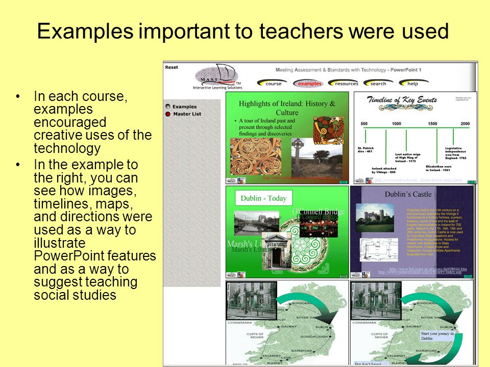Examples important to teachers were used In each course, examples encouraged creative uses of the technology In the example to the right, you can see how images, timelines, maps, and directions were used as a way to illustrate PowerPoint features and as a way to suggest teaching social studies
