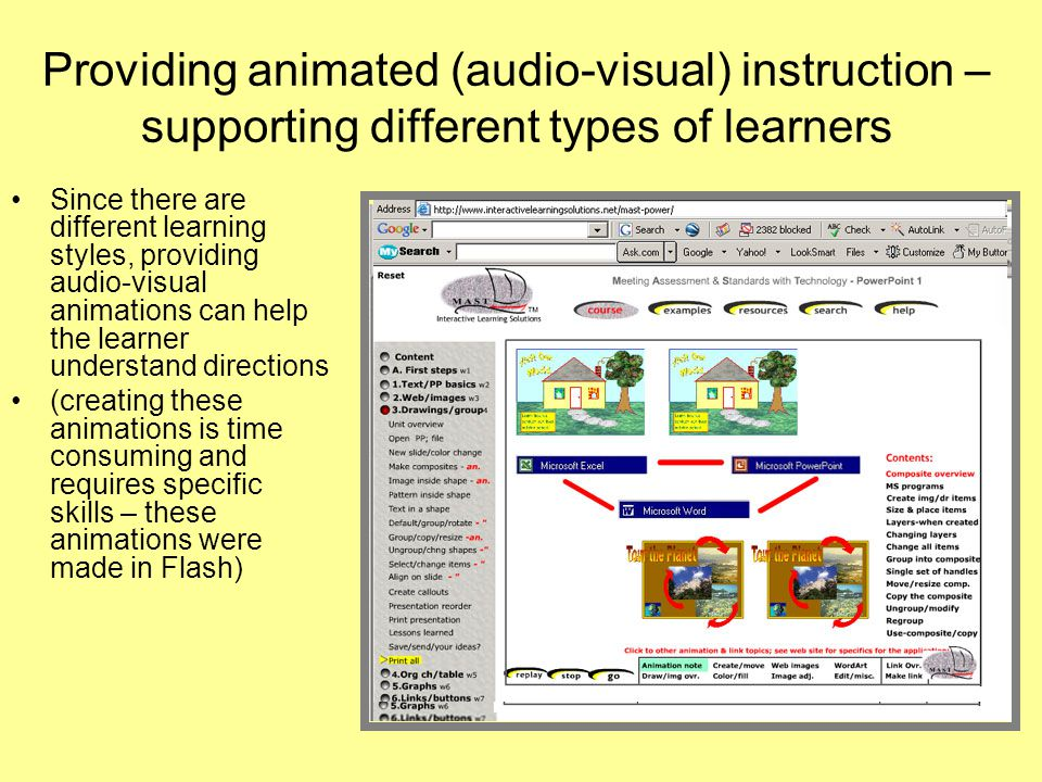 Providing animated (audio-visual) instruction – supporting different types of learners Since there are different learning styles, providing audio-visual animations can help the learner understand directions (creating these animations is time consuming and requires specific skills – these animations were made in Flash)