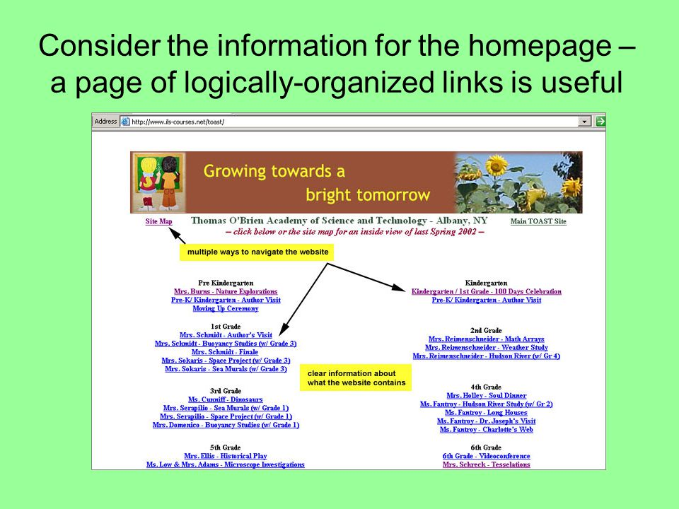 Consider the information for the homepage – a page of logically-organized links is useful