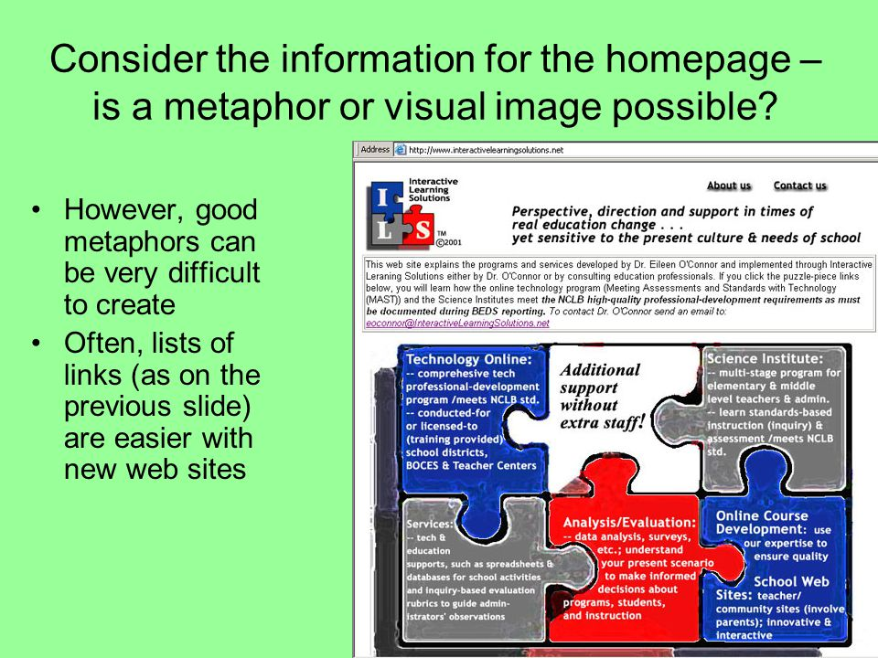 Consider the information for the homepage – is a metaphor or visual image possible.
