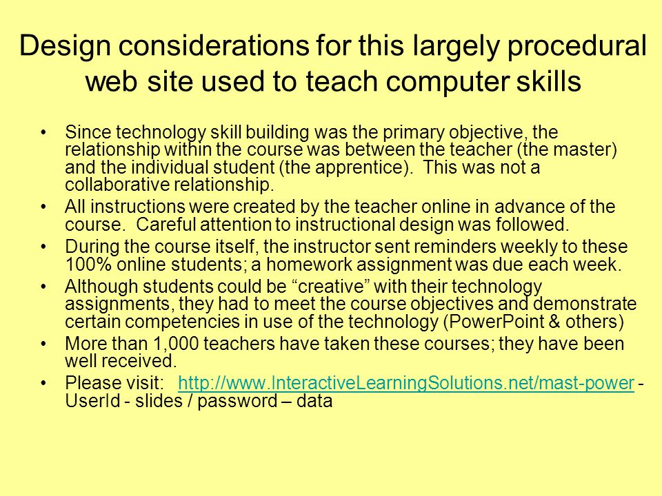 Navigation within this procedural web site Multiple ways to access the course content