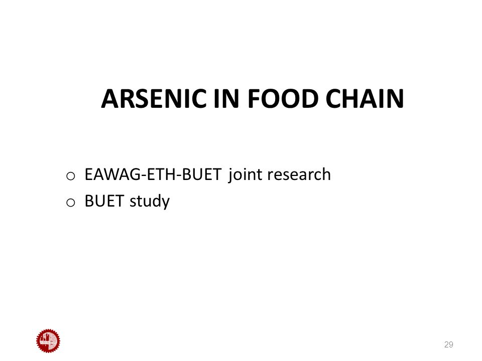 ARSENIC IN FOOD CHAIN o EAWAG-ETH-BUET joint research o BUET study 29