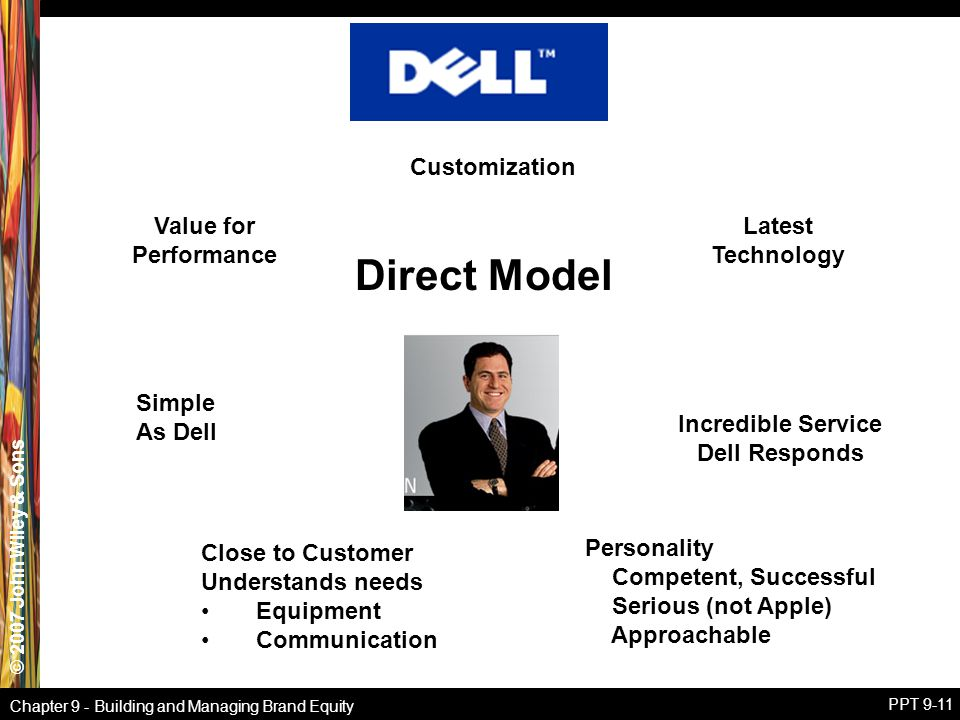 © 2007 John Wiley & Sons Chapter 9 - Building and Managing Brand Equity PPT 9-11 Simple As Dell Value for Performance Customization Incredible Service