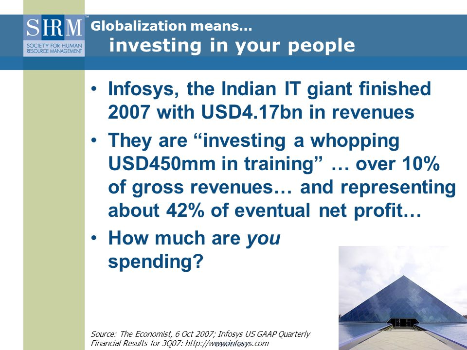 ©SHRM 2007 Infosys, the Indian IT giant finished 2007 with USD4.17bn in revenues They are investing a whopping USD450mm in training … over 10% of gross revenues… and representing about 42% of eventual net profit… How much are you spending.
