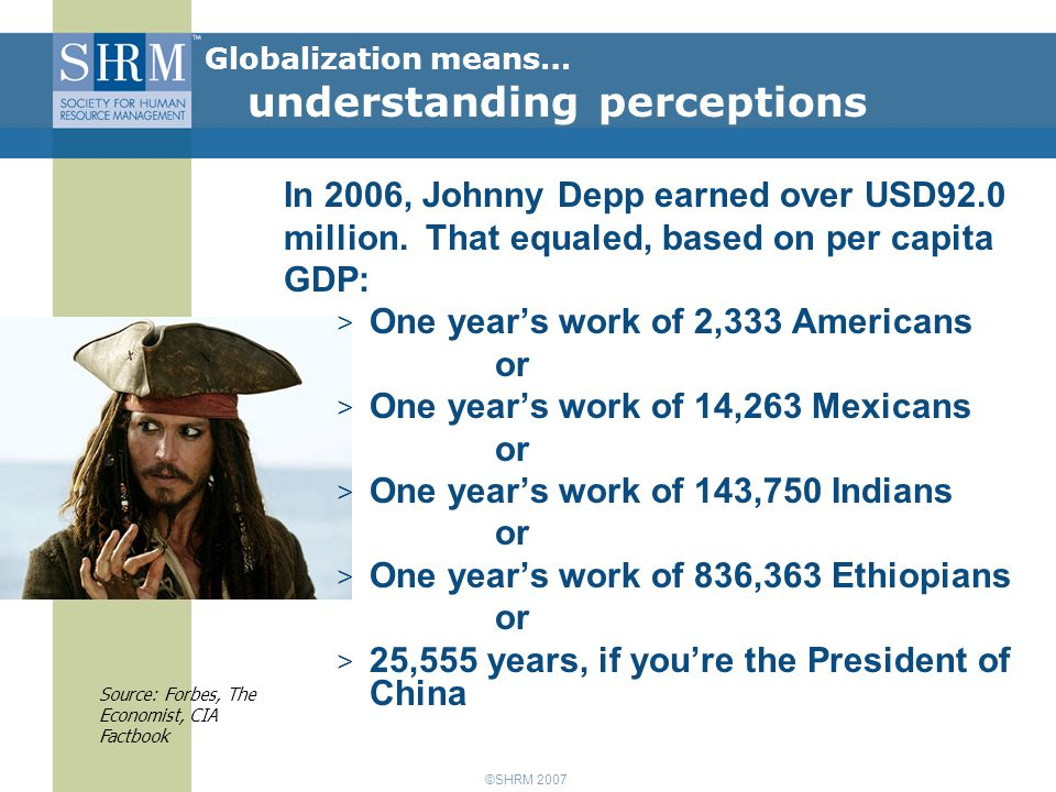 ©SHRM 2007 In 2006, Johnny Depp earned over USD92.0 million.