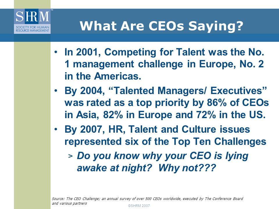 ©SHRM 2007 1Excellence in execution 38.3% 2Sustained and steady top-line growth 36.8 3Consistent execution of strategy by top management 31.8 4Profit growth 28.4 5Finding qualified managerial talent 27.2 6Customer loyalty/retention 26.3 7Speed, flexibility, adaptability to change 25.4 8Corporate reputation 23.7 9Stimulating innovation, creativity, enabling entrepreneurship 18.7 10Speed to market 18.2 2007: CEO's Top 10 Global Challenges Percent ranking Challenge Greatest Concerns Source: The CEO Challenge; an annual survey of over 500 CEOs worldwide, executed by The Conference Board and various partners