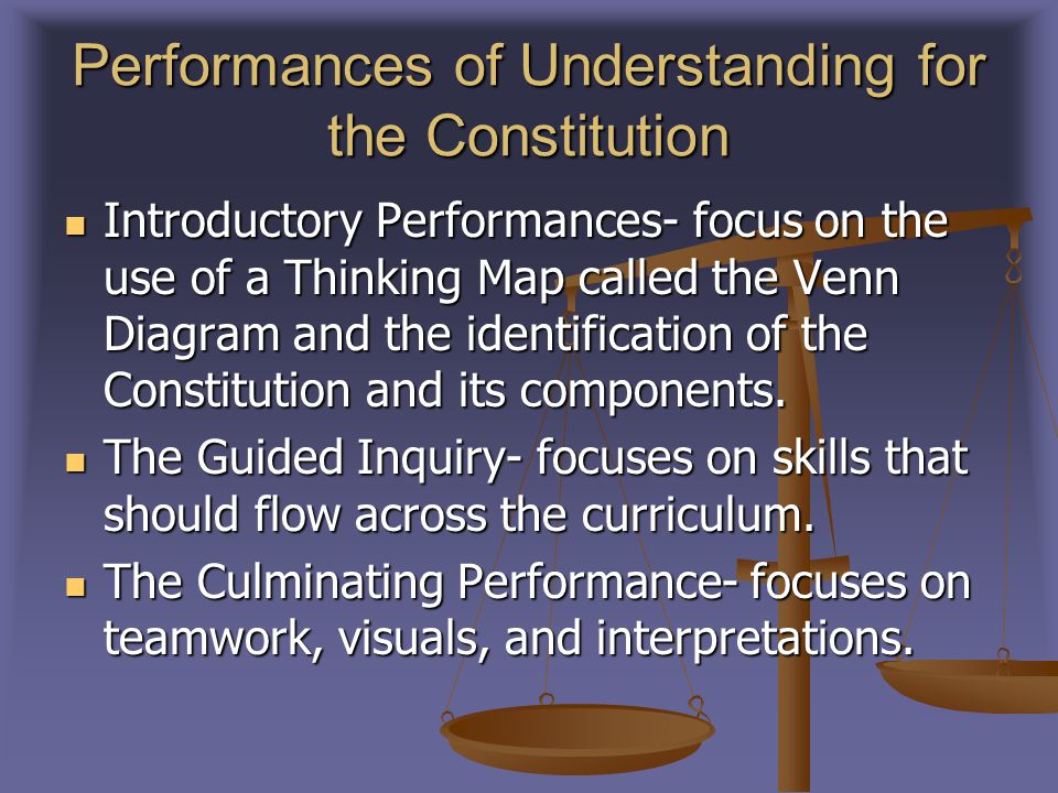 Performances of Understanding for the Constitution Introductory Performances- focus on the use of a Thinking Map called the Venn Diagram and the identification of the Constitution and its components.