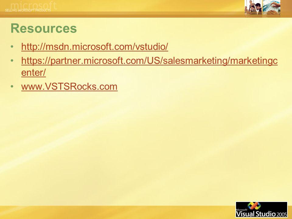 Resources http://msdn.microsoft.com/vstudio/ https://partner.microsoft.com/US/salesmarketing/marketingc enter/https://partner.microsoft.com/US/salesmarketing/marketingc enter/ www.VSTSRocks.com