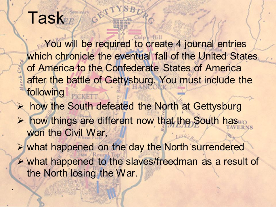 Teacher Page (2) Task Students must understand how to write journal entries, reading/showing a fictitious entry might help in student learning Process #1 As the students watch Gettysburg as a part of their Social Studies and English classes the they will be completing a worksheet with selected questions that will help them begin on the project.