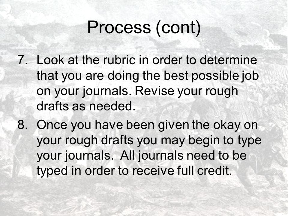 Process (cont) 7.Look at the rubric in order to determine that you are doing the best possible job on your journals.