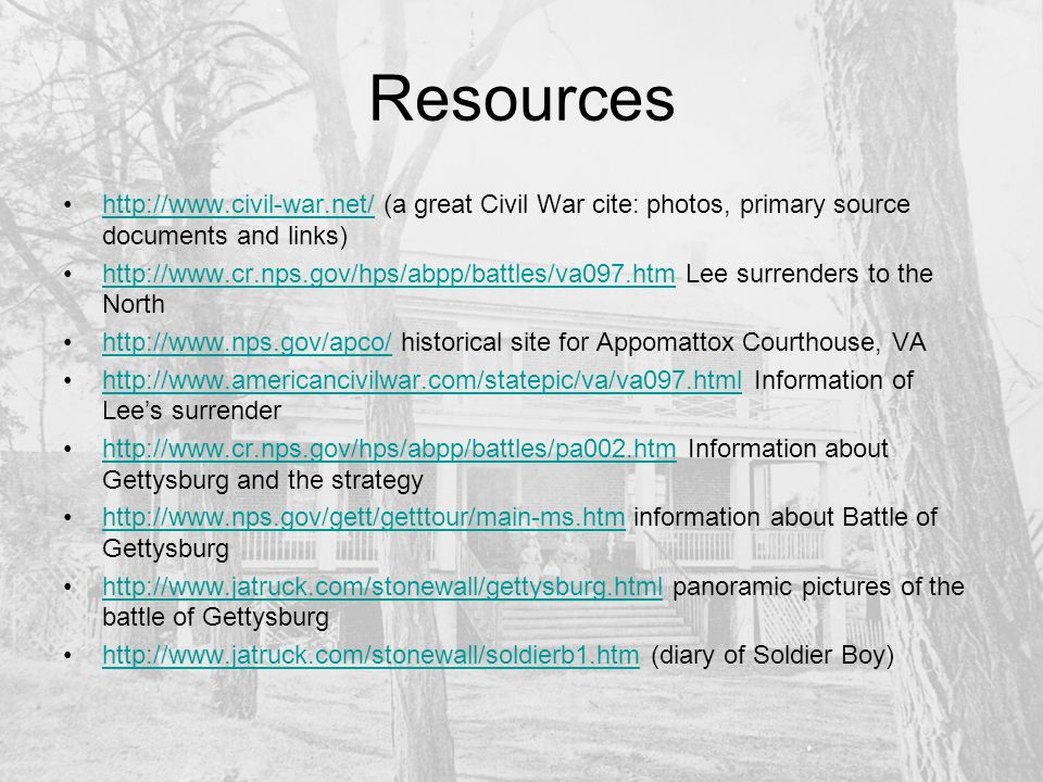 Resources (cont) http://www.civilwarhome.com/freedmen.htm information about the role of slaves and freedmen during the civil warhttp://www.civilwarhome.com/freedmen.htm http://www.pbs.org/wgbh/aia/part4/4narr5.html how African Americans dealt with the Civil Warhttp://www.pbs.org/wgbh/aia/part4/4narr5.html http://rs6.loc.gov/ammem/aaohtml/exhibit/aopart4.html more information about African Americans during the Warhttp://rs6.loc.gov/ammem/aaohtml/exhibit/aopart4.html http://history.acusd.edu/gen/civilwar/02/antebellum.html information about antebellum Southhttp://history.acusd.edu/gen/civilwar/02/antebellum.html http://cghs.dadeschools.net/slavery/white_south/intro_economy.htm more antebellum south informationhttp://cghs.dadeschools.net/slavery/white_south/intro_economy.htm