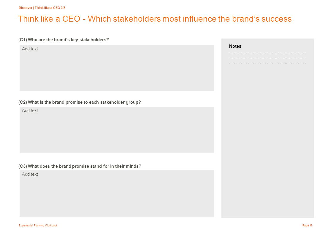 Experiential Planning Workbook Page 10 Think like a CEO - Which stakeholders most influence the brand's success (C1) Who are the brand's key stakeholders.
