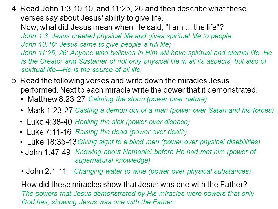5. Read the following verses and write down the miracles Jesus performed.
