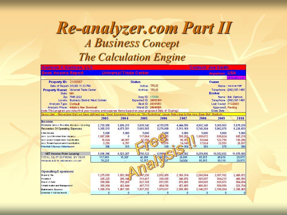 Re-analyzer.com Part II A Business Concept The Calculation Engine