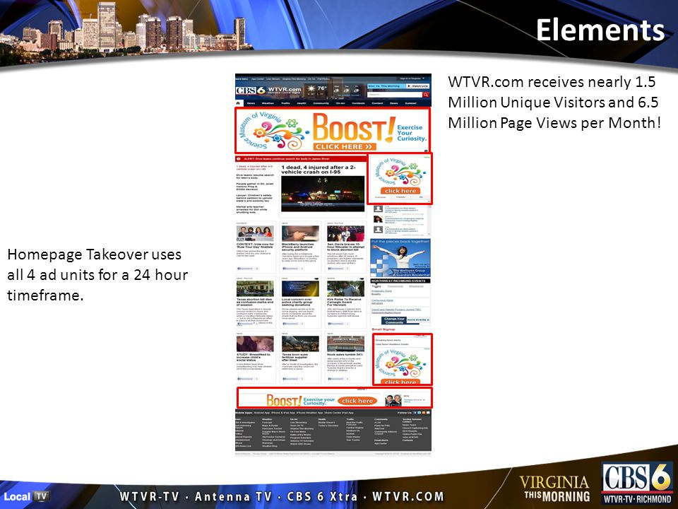 Elements Homepage Takeover uses all 4 ad units for a 24 hour timeframe.