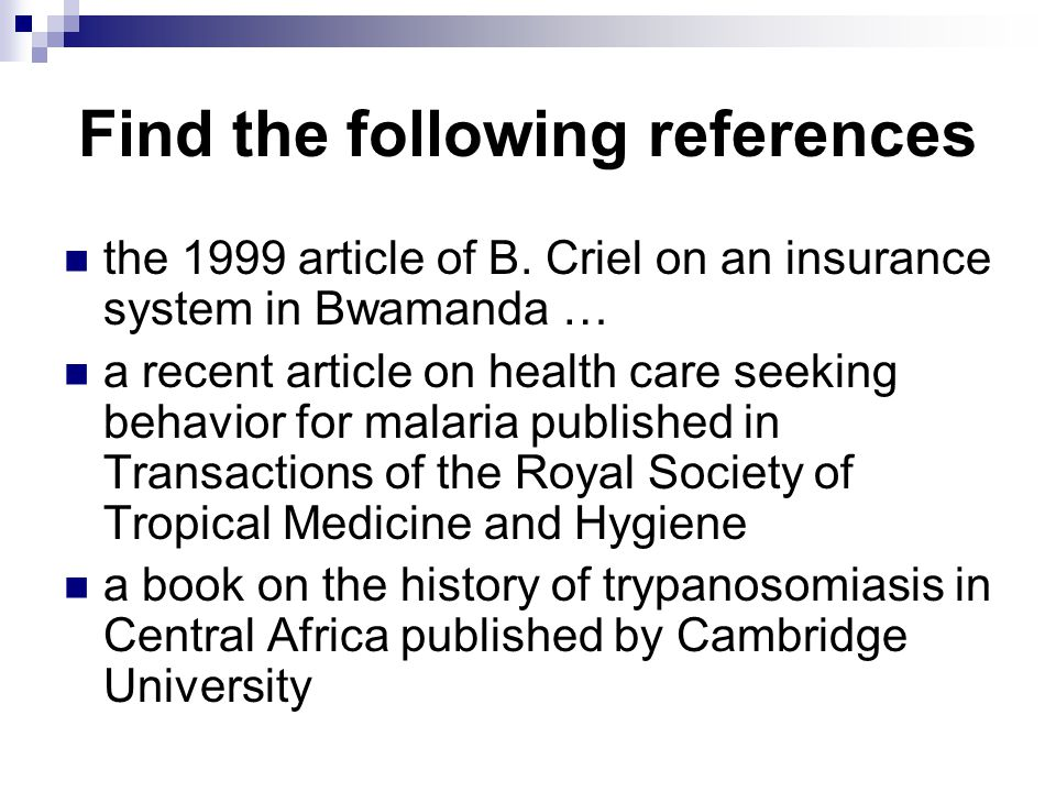 Find the following references the 1999 article of B.