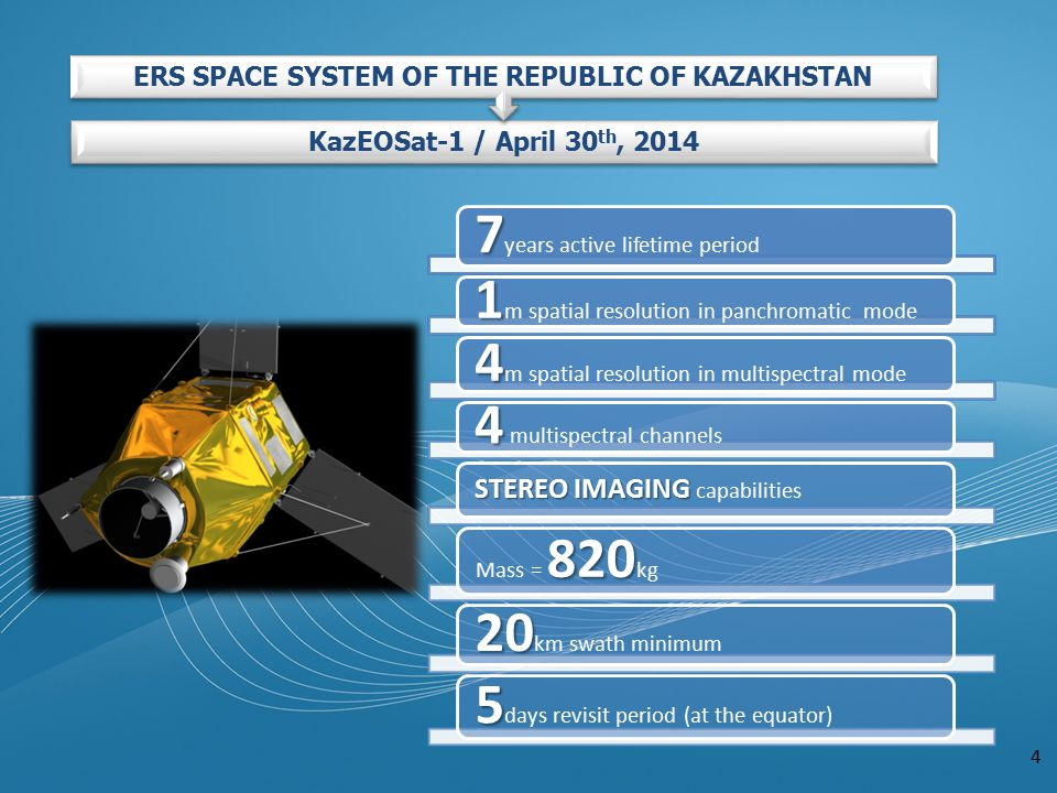 4 7 7 years active lifetime period 1 1 m spatial resolution in panchromatic mode 4 4 m spatial resolution in multispectral mode 4 4 multispectral channels STEREO IMAGING STEREO IMAGING capabilities 820 Mass = 820 kg 20 20 km swath minimum 5 5 days revisit period (at the equator) KazEOSat-1 / April 30 th, 2014 ERS SPACE SYSTEM OF THE REPUBLIC OF KAZAKHSTAN