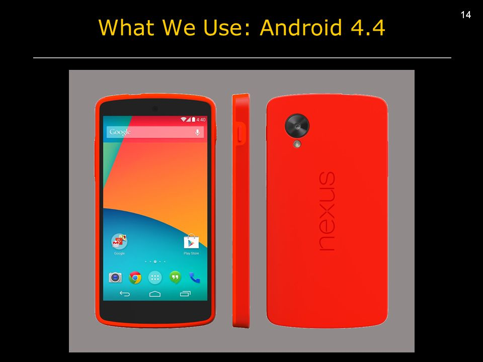 14 What We Use: Android 4.4 I/O Error Network Error Clock Error I/O Error Network Error Clock Error I/O Error Network Error Clock Error